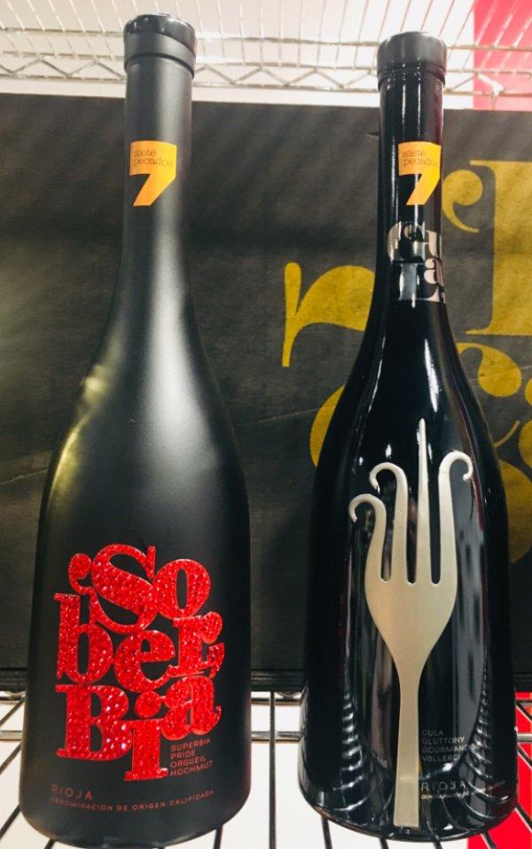 Botellas de vino de los pecados capitales: Soberbia y Gula